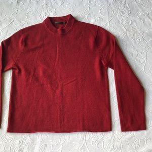 DONNA KARAN turtle neck sweater Sz Large Burgundy